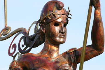 detail of monumental weathervane Lady Liberty