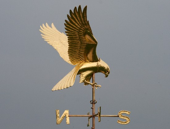 two leaping rabbits weathervane gilt harrier hawk weathervane - Weather Vanes