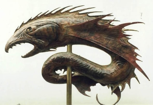 Copper japanese fighting fish weathervane for Japanese fighter fish