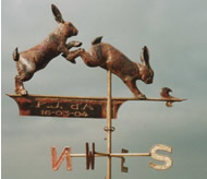 Two Leaping Rabbits Weathervane