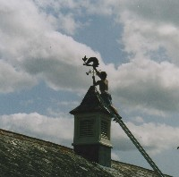 heraldic dolphin weathervane being installed on a clock tower